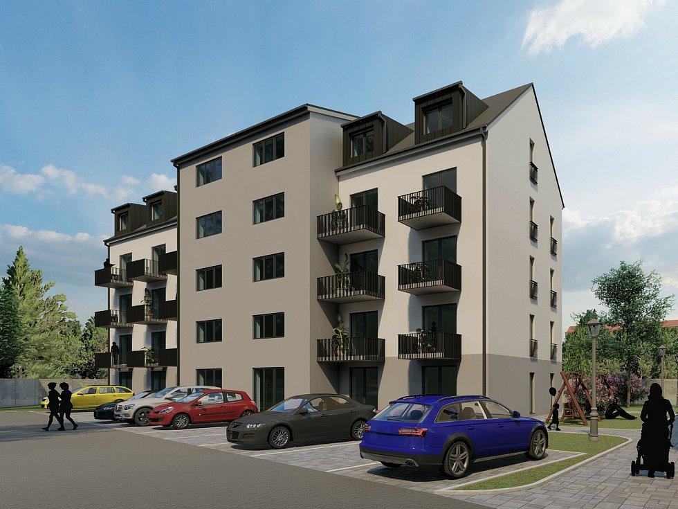 Vizualizace, jak bude po dokončení vypadat nová rezidence v Ostravě-Hrabové s 81 byty.