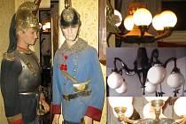 Mezi ukradenými věcmi byly i figuríny s uniformami a lustry.