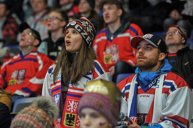 Olympijský festival vOstravě, 23.února 2018.Sledování hokejového zápasu Česko-Rusko.