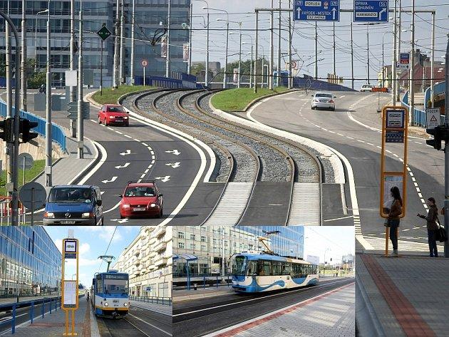 Nové obousměrné tramvajové a autobusové zastávky si v neděli vyzkoušeli první cestující.