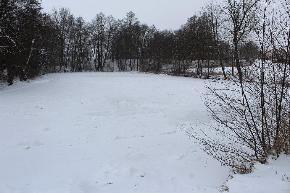 V Ostravě zůstávají zamrzlé plochy pod sněhem. Na snímku rybník v Polance nad Odrou.