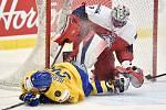 Mistrovství světa hokejistů do 20 let, čtvrtfinále: ČR - Švédsko, 2. ledna 2020 v Ostravě. Na snímku (zleva) Jonatan Berggren a brankář Česka Lukas Dostal.