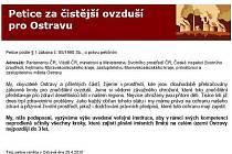 Novou petici za lepší ovzduší na Ostravsku hned první den podepsaly na internetu stovky lidí.