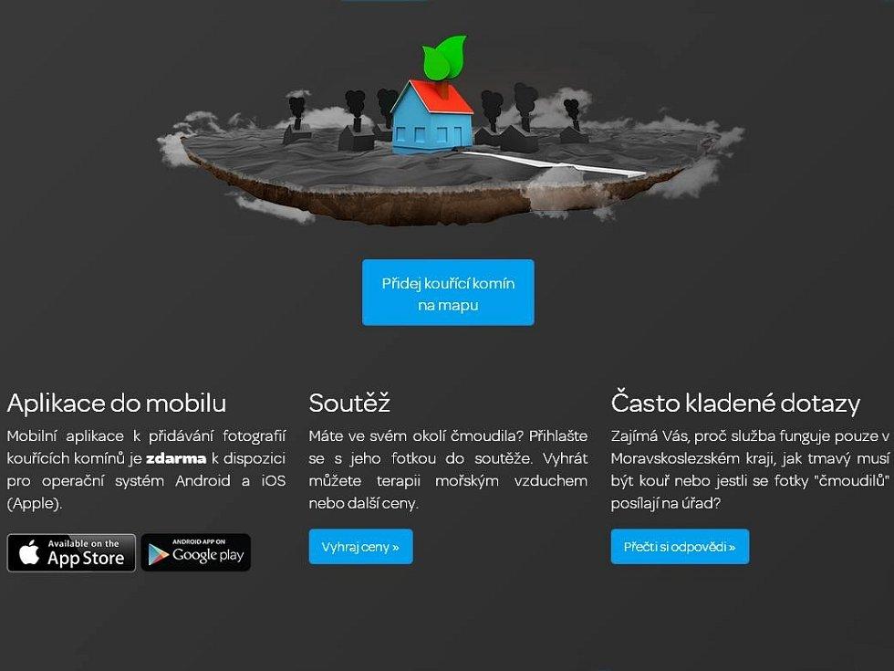 Úvodní strana projektu webové a mobilní aplikace Čistý komín.