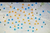 Aplikace ukazuje i místa pro ukládání odpadu, na snímku je pohled do mapy ulic v hlavní a staré části porubského obvodu.