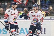 Utkání 36. kola hokejové extraligy: HC Vítkovice Ridera - HC Kometa Brno, 18. ledna 2019 v Ostravě. Na snímku (zleva) Blaž Gregorcs, Rostislav Olesz.