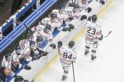 Utkání 32. kola hokejové extraligy: HC Vítkovice Ridera - PSG Berani Zlín, 4. ledna 2019 v Ostravě. Na snímku (zleva) Jan Schleiss a Ondřej Roman.