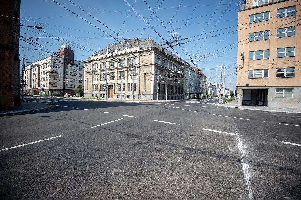 Rekonstrukce ulic Českobratrská a Sokolská třída, 1. zaří 2019 v Ostravě.