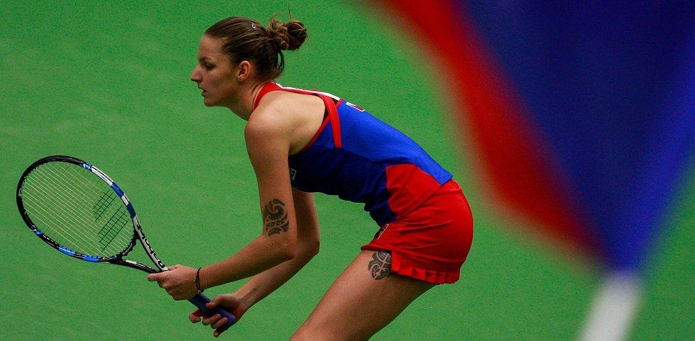 Fed Cup v Ostravě, 12. únor 2017, Karolína Plíšková (na snímku) porazila Garbiňe Muguruzaovou.