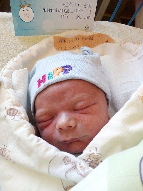 Matěj Vavruša z Bruntálu, narozen 16. února 2021 v Krnově, míra 49 cm, váha 3360 g. Foto: Pavla Hrabovská