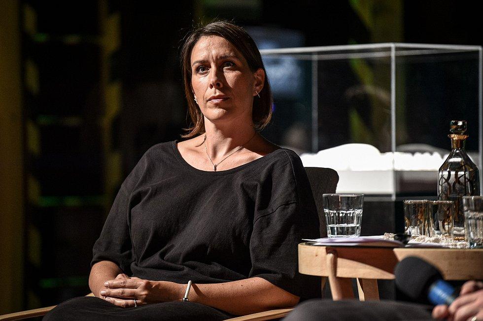 Tisková konference k novému koncertnímu sálu, 3. srpna 2020 v Ostravě. Architektka Hana Petříková z Architecture Acts.