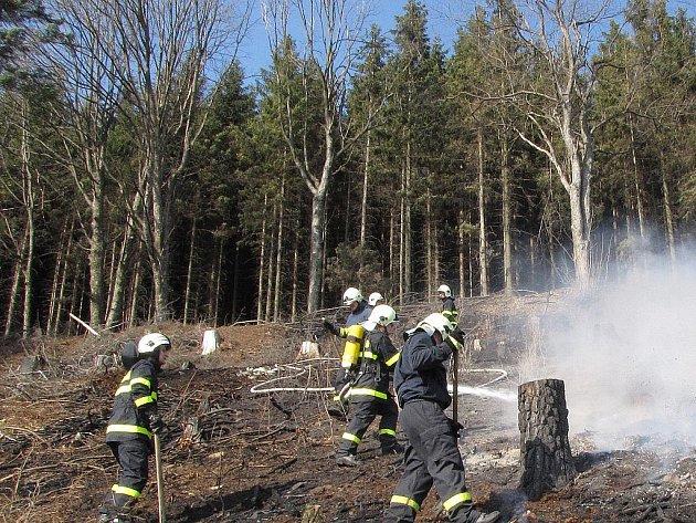 Hasiče zaměstnal loni rozsáhlý požár na Palkovických hůrkách.
