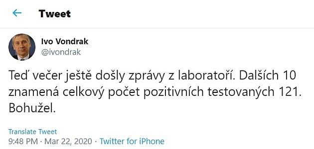 Ivo Vondrák na twitteru 22.března večer.