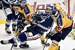 Utkání 41. kola hokejové extraligy: HC Vítkovice Ridera - PSG Berani Zlín, 28. ledna 2020 v Ostravě. Na snímku (zleva) Ralfs Freibergs a Tomáš Kubalík.