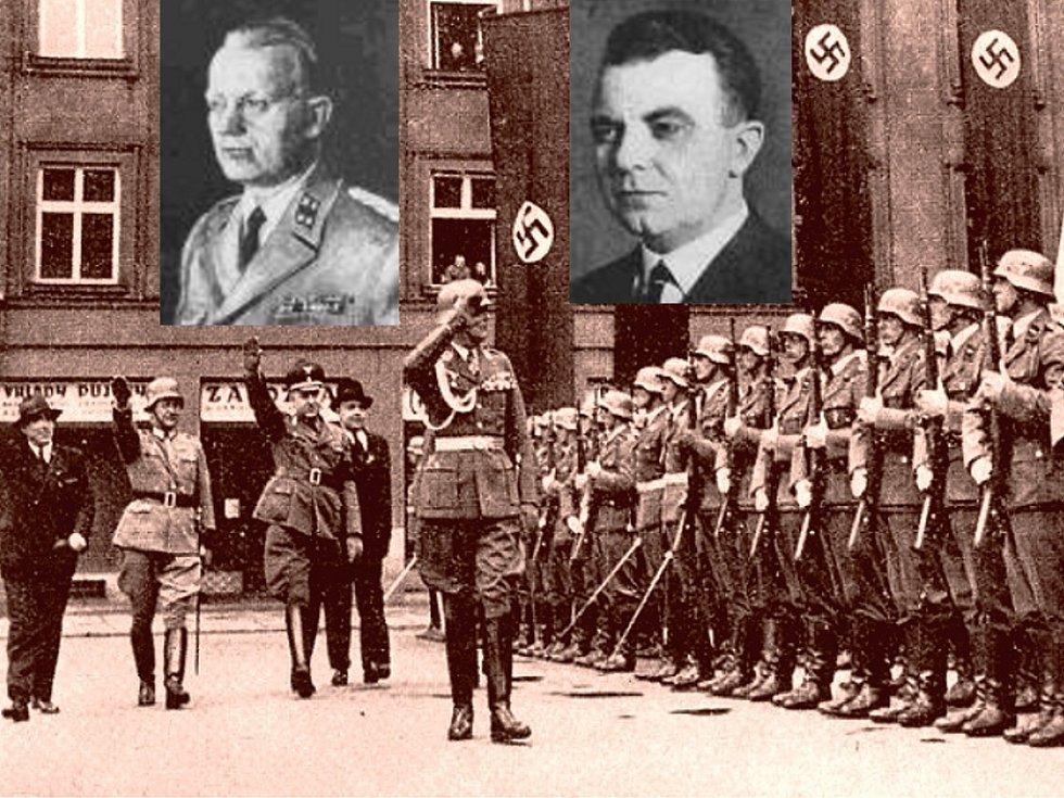 Po obsazení Ostravy vykonal generál Walter Keiner před Novou radnicí slavnostní přehlídku vojenské jednotky. Na snímku vlevo Emil Beier, fanatický nacista a sturmbannführer SS, vpravo Josef Hinner.