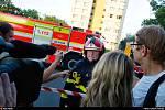 Zásah hasičů při tragickém požáru v Bohumíně, srpen 2020.