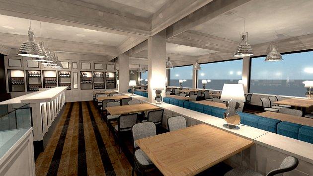 Vizualizace nové restaurace na Masarykově náměstí v Ostravě.