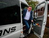 Debata v rámci projektu Deník-bus s volebními lídry za Moravskoslezský kraj. Na snímku Zbyněk Stanjura, ODS