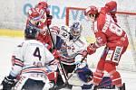 Čtvrtfinále play off hokejové extraligy - 4. zápas: HC Vítkovice Ridera - HC Oceláři Třinec, 25. března 2019 v Ostravě. Na snímku (zleva) Jiří Polanský, brankář Vítkovic Patrik Bartošák a Michal Kovařčík.