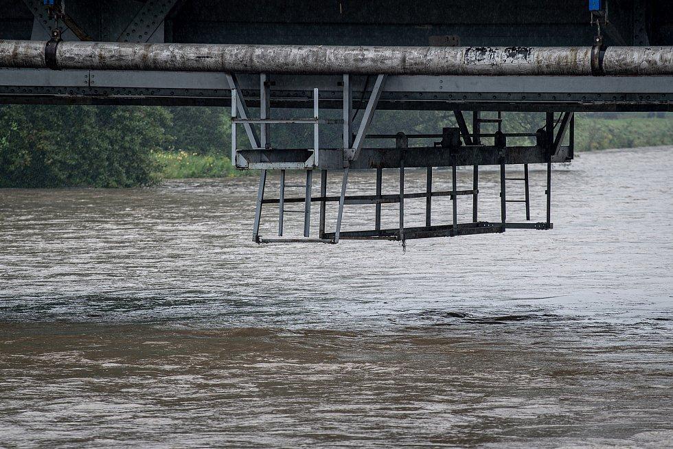 Řeka Ostravice která leží ve městě Vratimov, 19. srpna 2020.