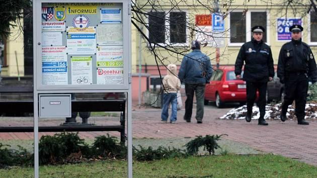 Informační tabule ostravské městské policie