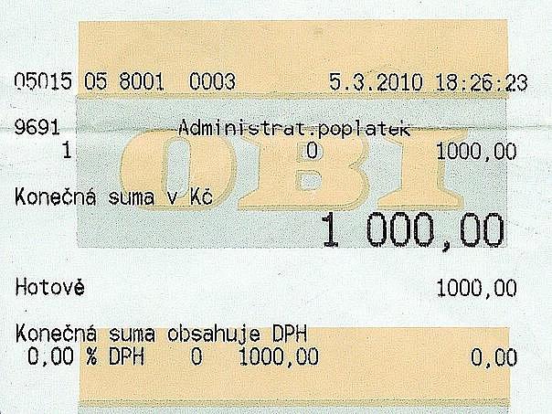 Jako doklad o zaplacení pokuty za omyl při nákupu v ostravské prodejně OBI dostal Jiří Horák obyčejný pokladní lístek.