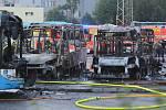 Požár autobusů MHD v Ostravě - Celkem 12 zaparkovaných autobusů poškodil 15. června 2019 večer požár v garážích Dopravního podniku Ostrava.
