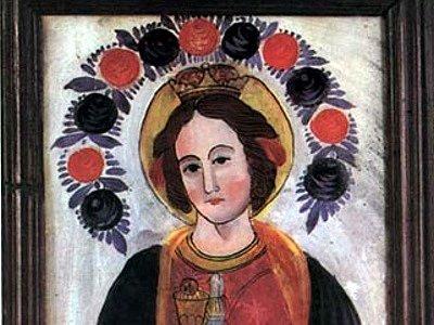 Svatá Barbora, patronka horníků.