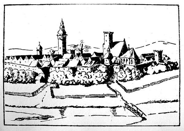 Malé městečko. Na kresbě zroku 1723je znázorněna stará Moravská Ostrava. Od kostela vpravo je dobře patrná městská brána scimbuřím.