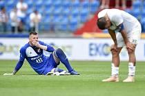 Nadstavba první fotbalové ligy, kvalifikační utkání o Evropskou ligu: FC Baník Ostrava - FK Mladá Boleslav, 1. června 2019 v Ostravě. Na snímku (zleva) Jan Laštůvka a Milan Baroš.