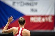 Utkání 1. kola Světové skupiny tenisového Fed Cupu: ČR - Rumunsko, 9. února 2019 v Ostravě. Karolína Plíšková proti Mihaela Buzarnescu.