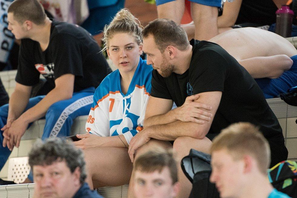 Velká cena Ostravy v plavání. Na snímku Tereza Závadová a Michal Rubáček.