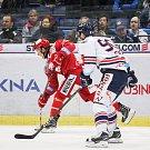 Utkání 34. kola hokejové extraligy: HC Vítkovice Ridera - HC Oceláři Třinec, 12. ledna 2019 v Ostravě. Na snímku (zleva) Jiří Polanský, Jakub Lev.