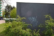 Ukázka sprejerova vandalství.