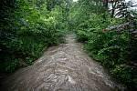 Povodňový stupeň na řece Ropičanka která leží v obci Řeka v okrese Frýdek-Místek, 21. června 2020.
