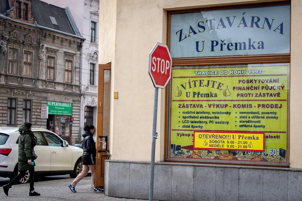 Zastavárna U Přemka v Přívoze, 2. března 2020 v Ostravě.