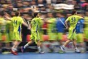 Superfinále play off florbalové superligy mužů: Technology florbal Mladá Boleslav - 1. SC TEMPISH Vítkovice, 14. dubna 2019 v Ostravě. Na snímku (zleva) Hájek Lukáš, Hubálek Jakub a Brauer Marek.