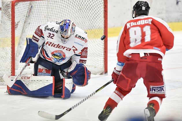 Utkání 44.kola hokejové extraligy: HC Vítkovice Ridera - HC Olomouc, 23.ledna 2019vOstravě. Na snímku (zleva) brankář Vítkovic Patrik Bartošák a Kolouch Petr.