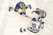 Utkání 32. kola hokejové extraligy: HC Vítkovice Ridera - PSG Berani Zlín, 4. ledna 2019 v Ostravě. Na snímku (zleva) Popelka Michal a Poletín Michal.