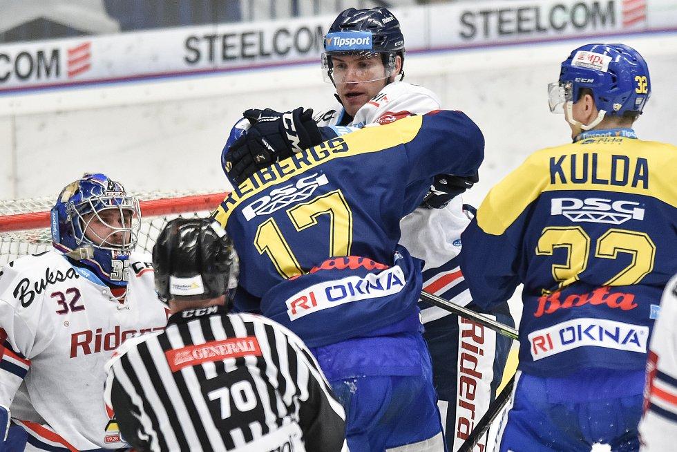 Utkání 32. kola hokejové extraligy: HC Vítkovice Ridera - PSG Berani Zlín, 4. ledna 2019 v Ostravě. Na snímku (zleva) Freibergs David a Rostislav Olesz.