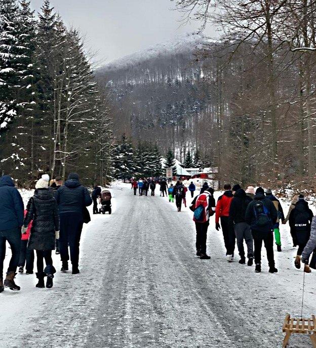 Pustevby v Beskydech v sobotu 9. ledna.