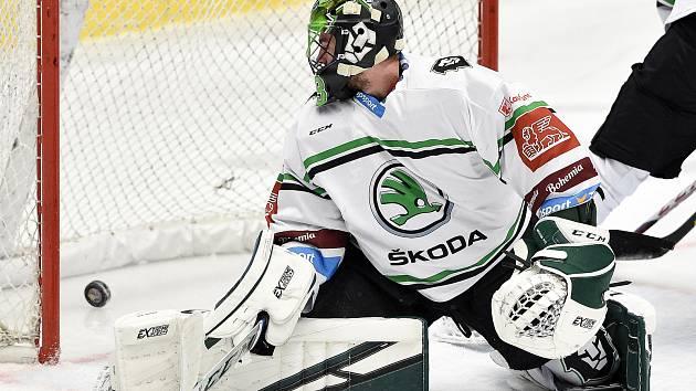 Utkání 33. kola hokejové extraligy: HC Vítkovice Ridera - BK Mladá Boleslav, 8. ledna 2021 v Ostravě. brankář Boleslavi Jan Růžička z Boleslavi.