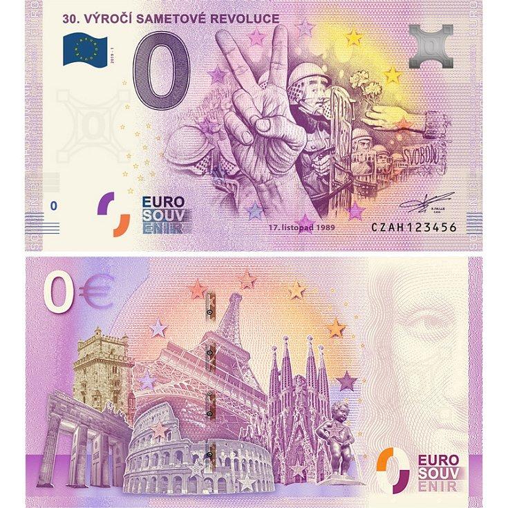 30. výročí sametové revoluce - suvenýrová eurobankovka, vydání roku 2019.