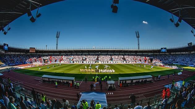 Slezské derby FC Baník Ostrava - Slezský FC Opava, 21. dubna 2019, utkání 29. kola první fotbalové ligy.