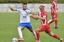 Fotbalisté Baníku Ostrava B porazili na Bazalech v utkání 2. kola MSFL Frýdek-Místek 2:0. Na snímku vlevo záložník Ondřej Chvěja.
