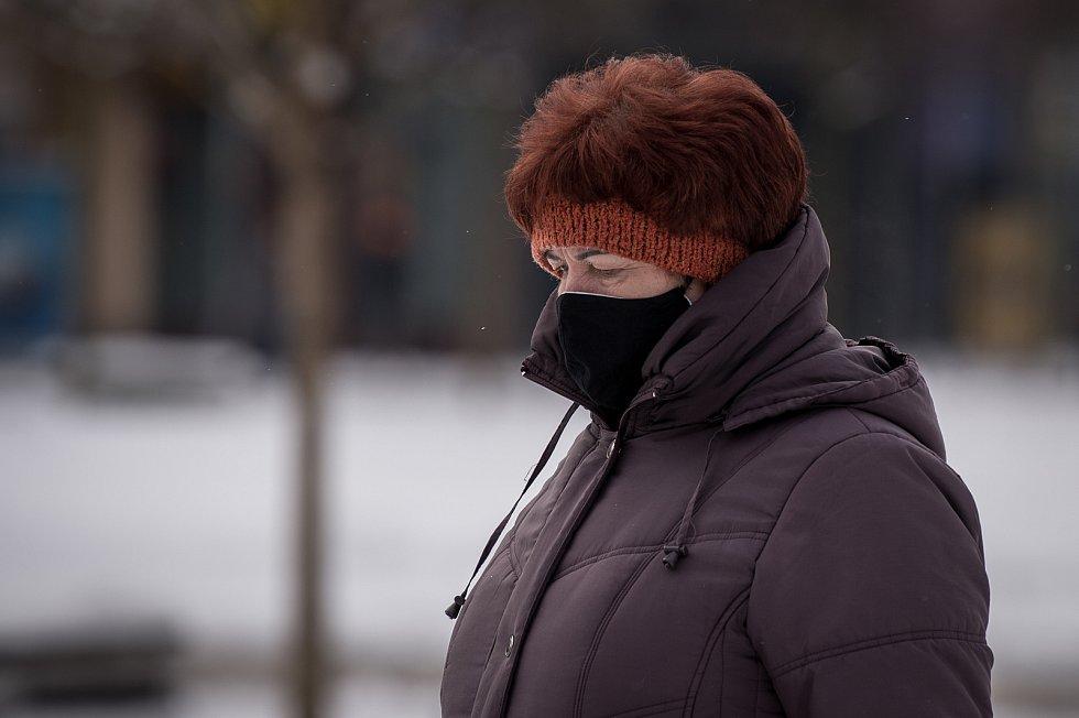 Mrazivé počasí v Ostravě, 18. ledna 2021. V následujících dnes se má razantně oteplit.