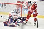 Utkání 44. kola hokejové extraligy: HC Vítkovice Ridera - HC Olomouc, 23. ledna 2019 v Ostravě. Na snímku (zleva) brankář Vítkovic Daniel Dolejš a Tomeček Vojtěch.