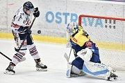 Utkání 32. kola hokejové extraligy: HC Vítkovice Ridera - PSG Berani Zlín, 4. ledna 2019 v Ostravě. Na snímku (zleva) Jan Schleiss a Sedáček Jakub.