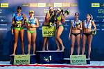 Slavnostní ceremoniál. FIVB Světové série v plážovém volejbalu J&T Banka Ostrava Beach Open, 2. června 2019 v Ostravě. Na snímku (zleva) Ana Patricia Silva Ramos (BRA), Rebecca Cavalcanti Barbosa Silva (BRA), Eduarda Santos Lisboa Duda (BRA), Agatha Bedna