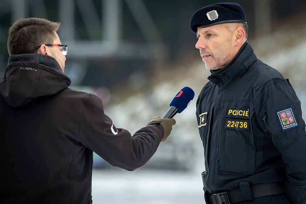 Tomáš Kužel, ředitel krajského ředitelství MS kraje na tiskové konferenci 16. prosince 2019, Staré Hamry.